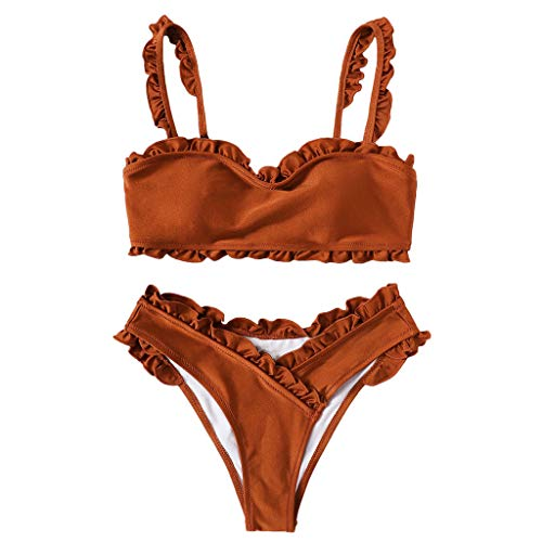 Genutery Womens Ruffle Bikini Set, Solid Color Bandage Sexy Swimwear Suspender Backless Fashion Swimsuit Orange]()