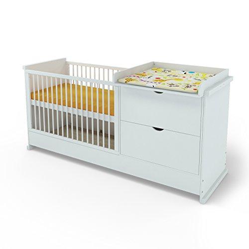 Babybett + mit Wickelkommode Jugendbett Kinderbett Kommode 120x60cm ...
