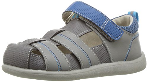 See Kai Run Boys' Ryan II Sandal, Gray/Blue, 5.5 M US Toddler