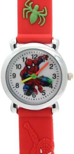 TimerMall SpiderMan Children 3D Cartoon Waterproof Case Back Red Rubber WatchStrap Quartz Watches