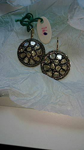 Victorian Style Antique Finish 3.50cts Rose Cut Diamond, Uncut Polki Diamond, Sterling Silver Earrings