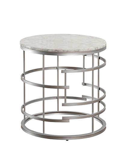 Round Faux Marble Top End Table, Silver ()