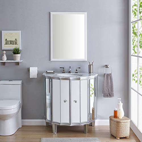 Mirrored Vanity Sink W/Marble White Oval Ceramic Marble Silver -