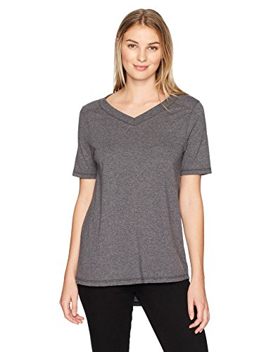 (Fruit of the Loom Women's Essentials All Day Elbow Length V-Neck T-Shirt, Black Heather, X-Large)