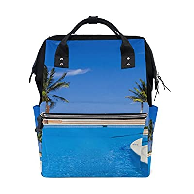 aabc6915f7 WIHVE Summer Hawaii Palm Tree Canvas School Bag Fashion Laptop Backpack  Bookbag low-cost