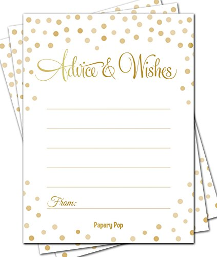 50 Advice Cards - Any Occasion - Wedding Advice Cards, Advice for the Bride - Retirement or Graduation Party, Baby or Bridal Shower Games ()