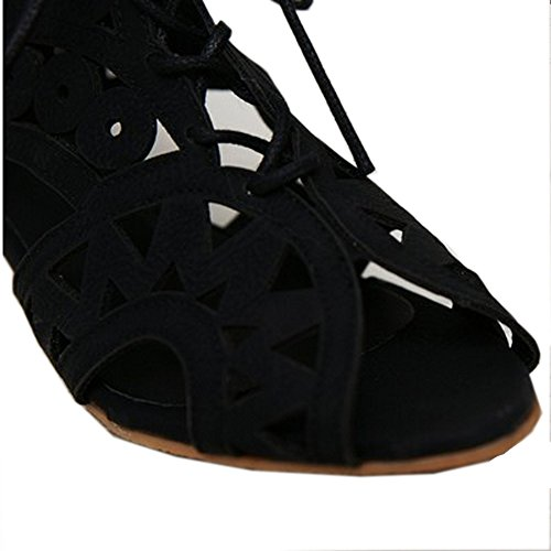 Up Women's LongFengMa Wedge Black Floral Lace Sandals Shoes Fretworks RqqBnY
