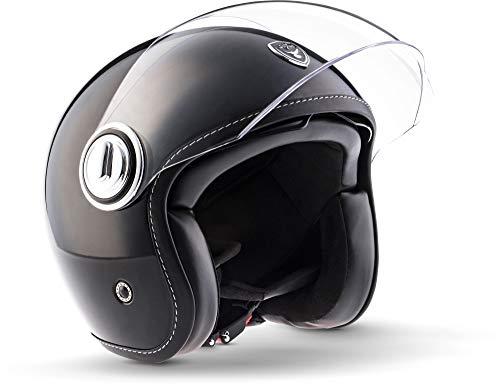 Allrounder Soxon SP-888/Mono/Motorcycle Jet Helmet Vespa Scooter Pilot Cafe Racer with Sun Visor /& Long Visor
