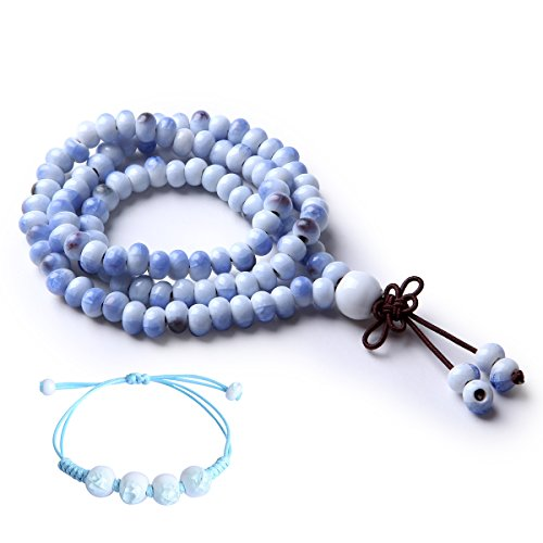 CAT EYE JEWELS 108 Prayer Beads Cracked Ice Ceramic Porcelain Meditation Mala Beads Bracelet Necklace Sky Blue