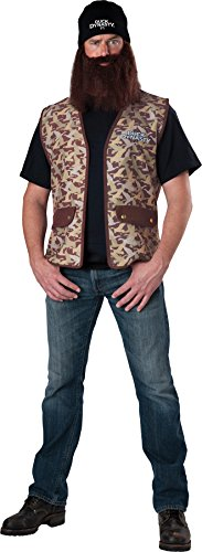 UHC Men's Duck Dynasty Jase Robertson Vest w/ Wig & Beard Halloween Costume, (Duck Dynasty Mens Jase Costumes)