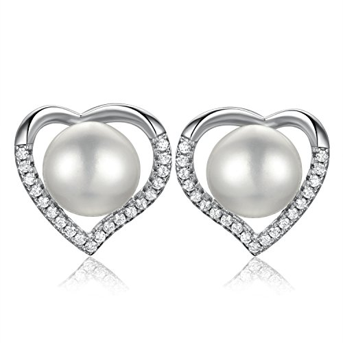 DOKINCIK 925 Sterling Silver Earrings with Diamonds and Pearls,Freshwater Cultured Pearl Earring Studs, Heart shaped Jewelry Sets for Women and ()