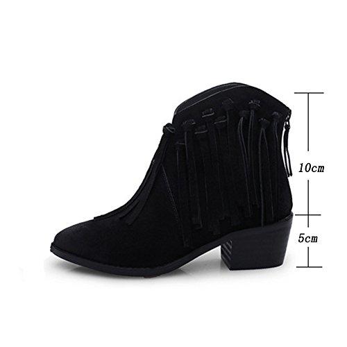 Chelsea Schwarz Party Hochzeit Damen Stiefel Quaste Fashion Schuhe Frauen Heel Ankle Chunky SnXwFOA7O