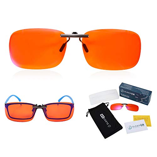 99.9% Clip On Anti Blue Light Blocking Computer Video Gaming Glasses for Women & Men – Clips On Your Prescription or…
