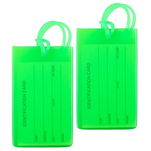 2 Packs Colorful Flexible Travel Luggage Tags for Baggage Bags/Suitcases - Name ID Labels Set for Travel - Green