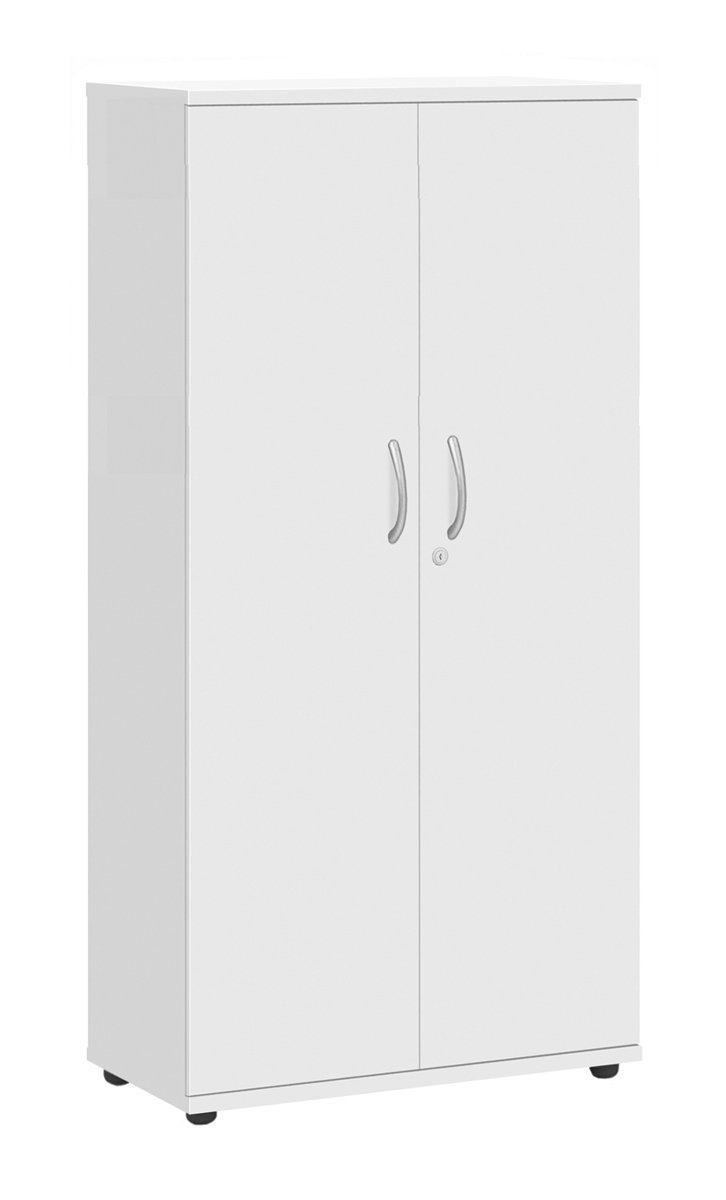 Office Hippo Fraction Plus Desk High Double Door Lockable Storage Cupboard with 1 adjustable shelves, 73 cm High - White MFC ZFPDDC720WHT