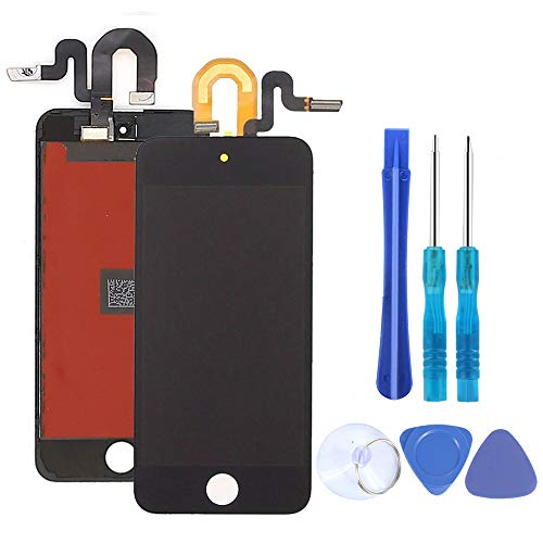 - Full Screen Replacement for iPod Touch 5 5th 6 6th Generation LCD Screen Digitizer The Whole Display Assembly with Repair Tools and Glass Screen Protector (Black)