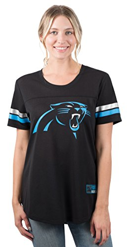 - NFL Carolina Panthers Women's Jersey T-Shirt Mesh Varsity Stripe Tee Shirt, Medium, Black