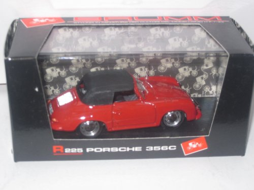 R225 Car - Brumm R225 Porsche 356C Spyder Chiusa 1963-65 1:43 Scale Die Cast in Red