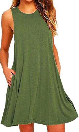 Superiore Tasche Serbatoio Del Tunica Verde Allentato Casuale Vestito Delle Sleeveless Donne Jaycargogo 0wq11