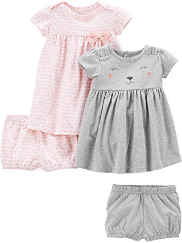 Simple Joys by Carter's Girls' 2-Pack Short-Sleeve and Sleeveless Dress Sets, Pink Elephants/Gray Bear, 0-3 Months