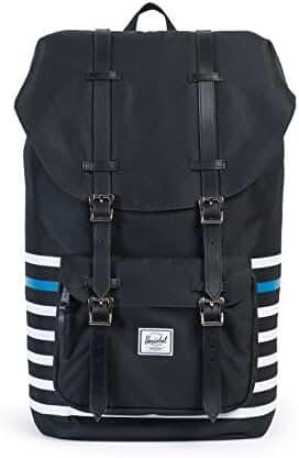 Herschel Supply Co. Little America Backpack, Black Offset Stripe/Black Veggie Tan Leather