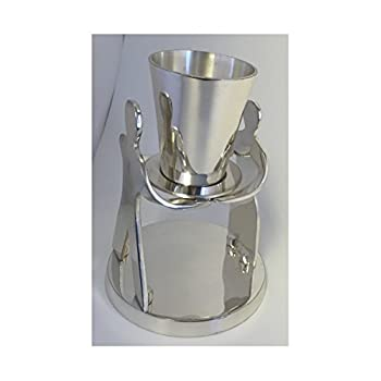 Image of Kiddush Cups & Sets Alef Judaica Pewter 'Our Love' Kiddush Cup by Giora with Man and Woman Holding Hands - Comes with Beautiful Blue Velvet Gift Box