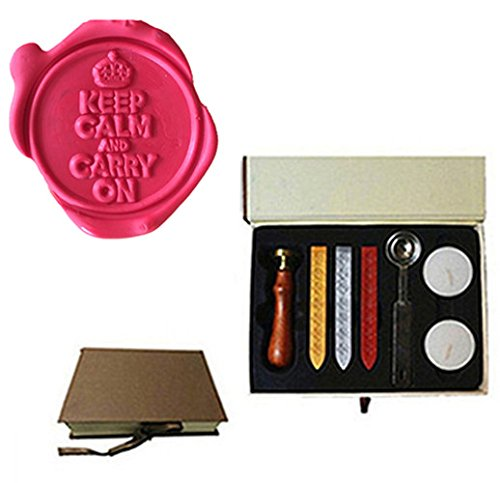 MDLG Vintage Keep Calm and Carry On Crown Custom Picture Logo Wedding Invitation Wax Seal Sealing Stamp Sticks Spoon Gift Box Set Kit (Wax Stamp Seal Crown compare prices)