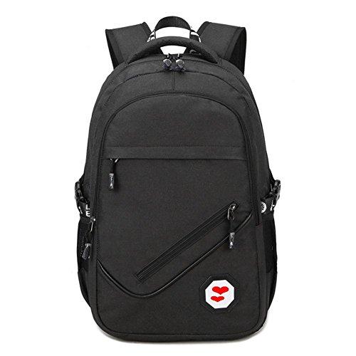 Moda casual estudiante mochila hombre viaje computadora bolsa Oxford tela incorporada interfaz de carga USB , grey black