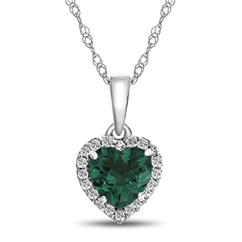 10k White Gold 6mm Heart Shaped Simulated Emerald with White Topaz accent stones Halo Pendant Necklace by Finejewelers