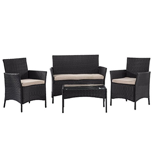 FDW Patio Furniture Set Outdoor Wicker Sofa 4pcs Garden Rattan Conversation Set Cushioned with Coffee Table Bistro Sets for Yard or Backyard (Patio Sofa- 4Pcs)