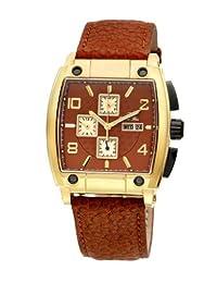 Porsamo Bleu London Genuine Leather Gold Tone & Brown Men's Watch 142BLOL