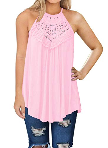 (Mafulus Womens Summer Tank Tops Casual Sleeveless Lace Flowy Loose Shirts Camis Pink)