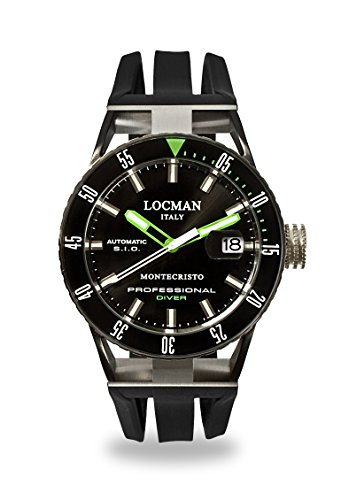 Locman Italy Men's 'Montecristo Professional' Automatic Stainless Steel and Rubber Diving Watch, Color:Black (Model: 0513KNKGBKNKSIK)