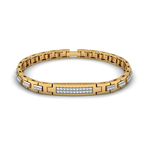 14 K Or jaune, métal CT TW Round-cut-diamond (Ij| SI) Identification-bracelets