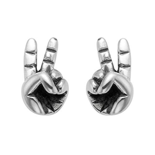 (Sterling Silver Fingers Peace Sign Stud Earrings)