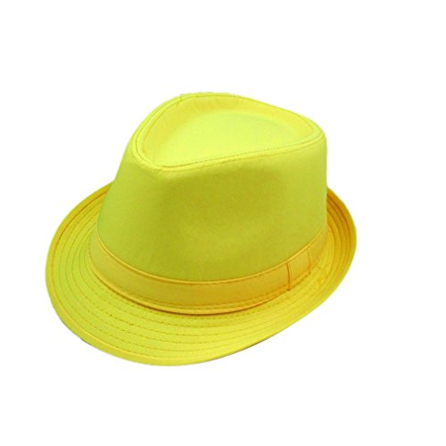 XueXian(TM) Unisex Adult Summer Spring Cotton Solid Candy Color Fedora Bowler Sun Hat (Fedora Hat Cheap)