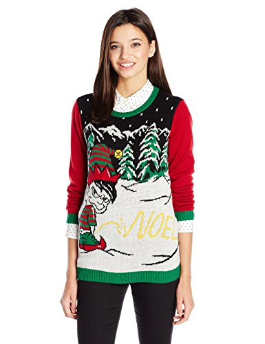 Ugly Christmas Sweater Juniors Light-Up Noel Written in Snow Pullover