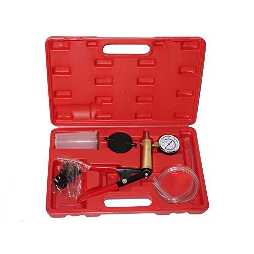 (A ABIGAIL Universal Hand Held Vacuum Pump Tester Set Vacuum Gauge and Brake Bleeder Kit for Car Motorbike Moped Motor Bike with Adapters)