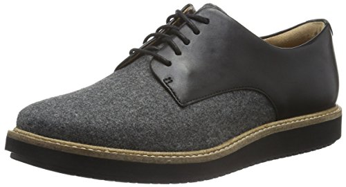Clarks Glick Darby, Derby para Mujer Gris (Grey Textile/Blk Leather Combi)