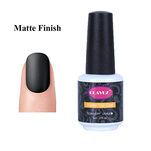CLAVUZ Matte Top Coat Gel Nail Polish Matte Finish No Wipe Non-Cleansing Long Lasting Soak Off UV LED Nail Art DIY at Home 8ml