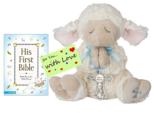 Easter Religious Baptism Shower Gifts for Boys Serenity Lamb w/Crib Cross and His First Bible