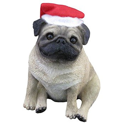 Sandicast Fawn Pug Sitting with Santa Hat Christmas Holiday Ornament (XSO12203)
