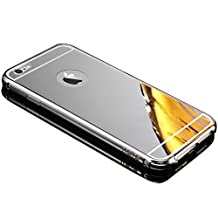 Sunroyal for iPhone 6 6S 4.7 inch Premium Glass Mirror Metal Case Cover - Aluminum Frame Hard PC Back Bumper Case Metal Aluminum Protection Chrome Cover Ultra Slim Mobile Phone Case Luxury Glitter Bling Shiny ultra Thin Case ,Silver