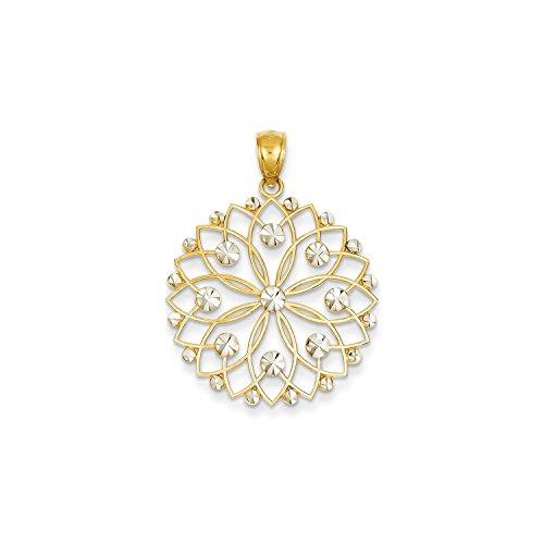 Roy Rose Jewelry 14K Yellow Gold & Rhodium Diamond-cut Flower Pendant (Flower Diamond Cut Rhodium)