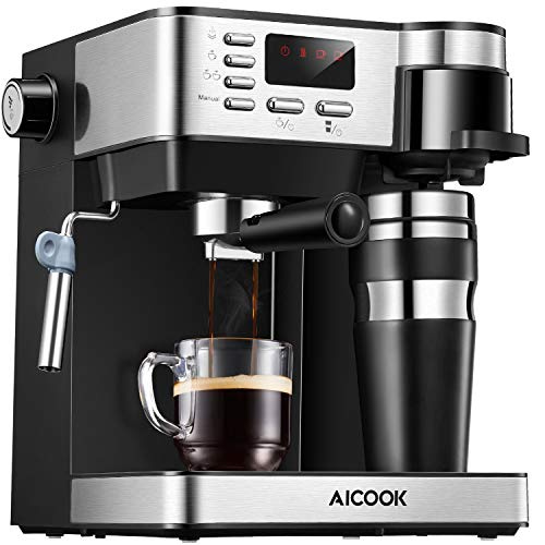 AICOOK Espresso and Coffee Machine, 3 in 1 Combination 15 Bar Espresso Machine and Single Serve Coffee Maker With Coffee Mug, Milk Frother for Cappuccino and Latte, Black (Renewed)