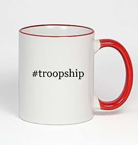 #troopship - Funny Hashtag 11oz Red Handle Coffee Mug Cup