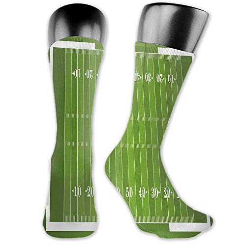 Sock for Male Wedding Birthday Party Gifts Football,Sports Field in Green Gridiron Yard Competitive Games College Teamwork Superbowl,Green White,socks for toddler boys with grip (Length Of A Football Field In Yards)