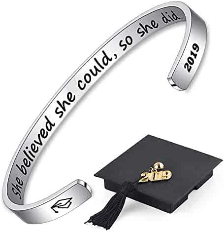 51feda9fbe5 Graduation Gifts Cuff Bracelet for Women - Inspirational Mantra Quote Cuff  Bracelet with 2019 Graduation Grad