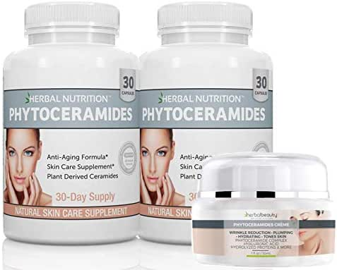 Phytoceramides Kit 2 Bottles Rice Based Capsules Plus 1 Jar of Phytoceramides Cream Anti-Aging Remedy for Skin Hair Nails Attack Aging Skin from The Inside and Out