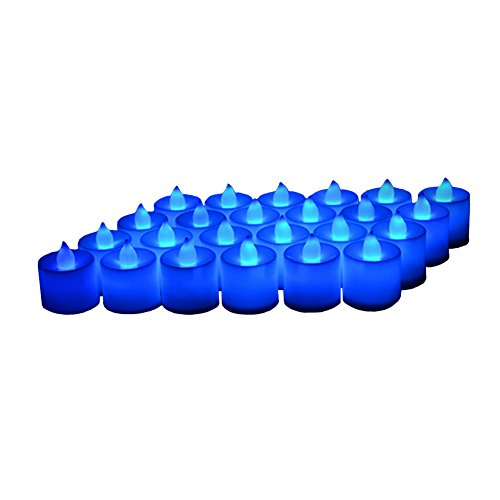24 Pack LED Tea lights Candles – Flickering Flameless Tealight Candle – Battery Operated Electronic Fake Candles – Decoration for Wedding, Party, Dating and Festival Celebration (Blue) by LANKER